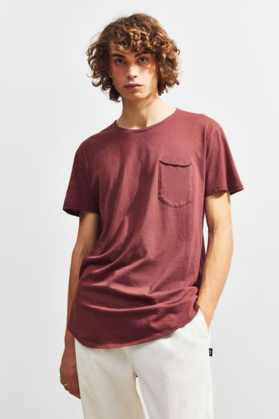 Curved Hem Tee - Maroon XS at Urban Outfitters