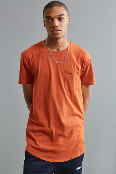 Curved Hem Tee - Dark Orange XS at Urban Outfitters