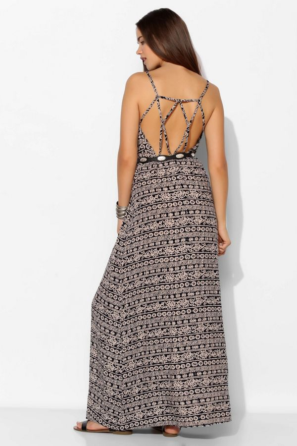 Staring At Stars Strappy Geo Back Maxi Dress Urban Outfitters