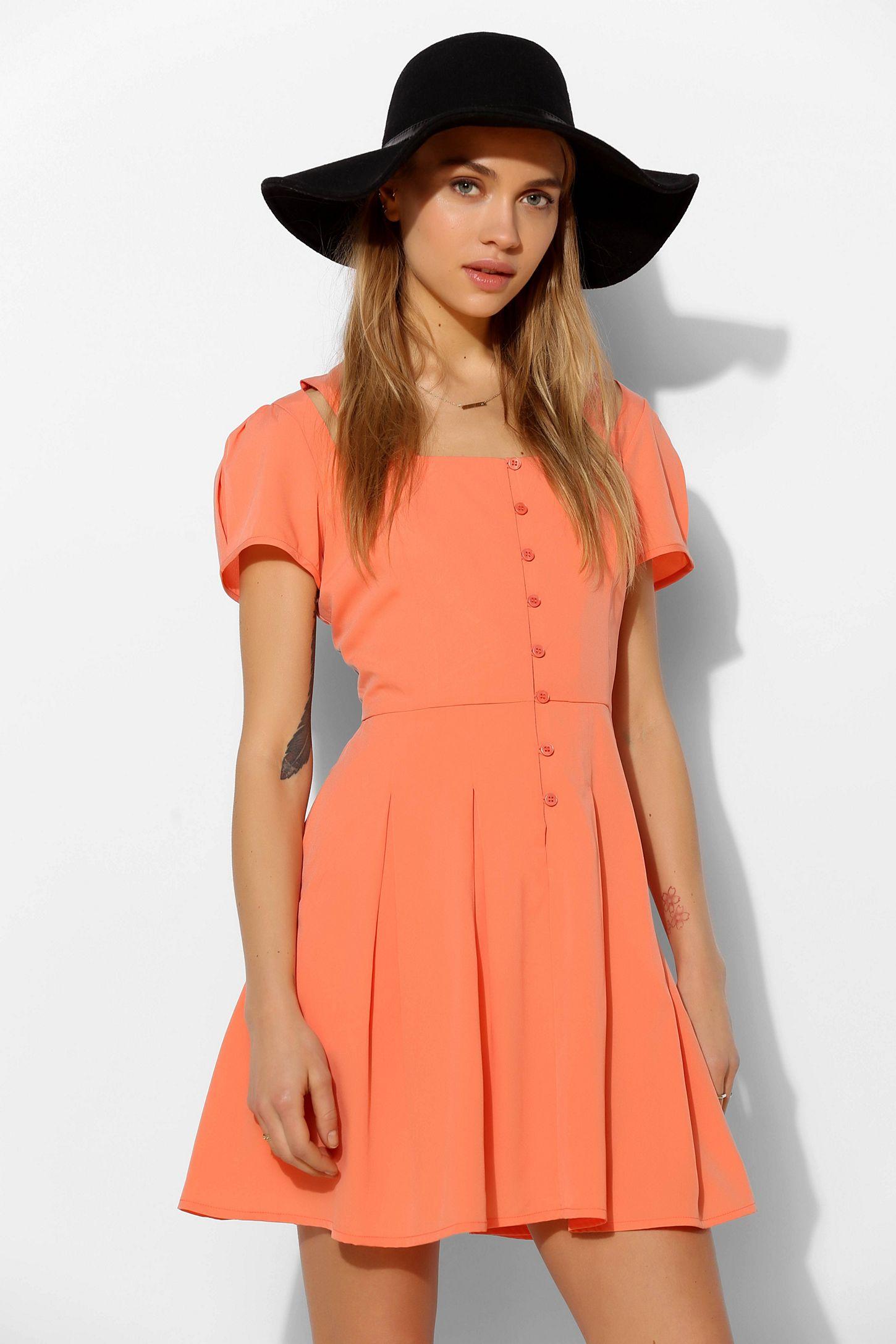b1e993aa0ce Pins And Needles Button-Front Short-Sleeve Cutout Dress