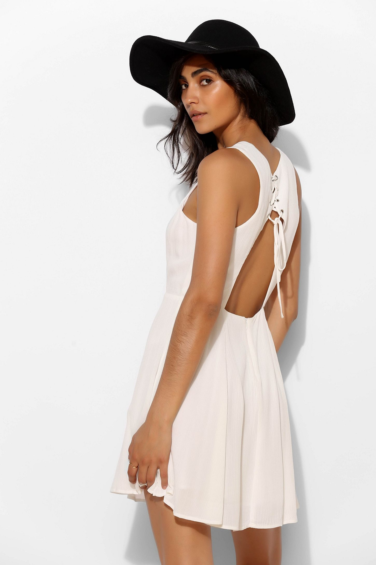 dd4ef4b815f Pins And Needles Fiona Lace-Up Back Skater Dress
