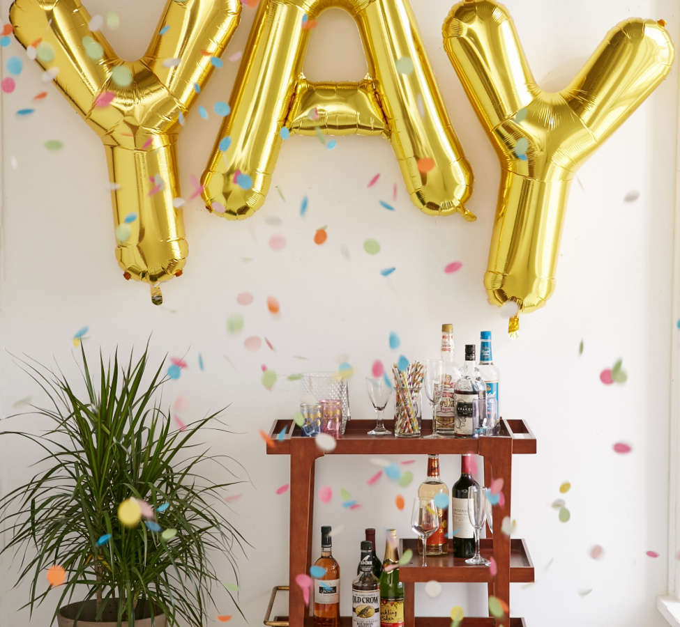 Slide View: 1: Gold Letter Party Balloon