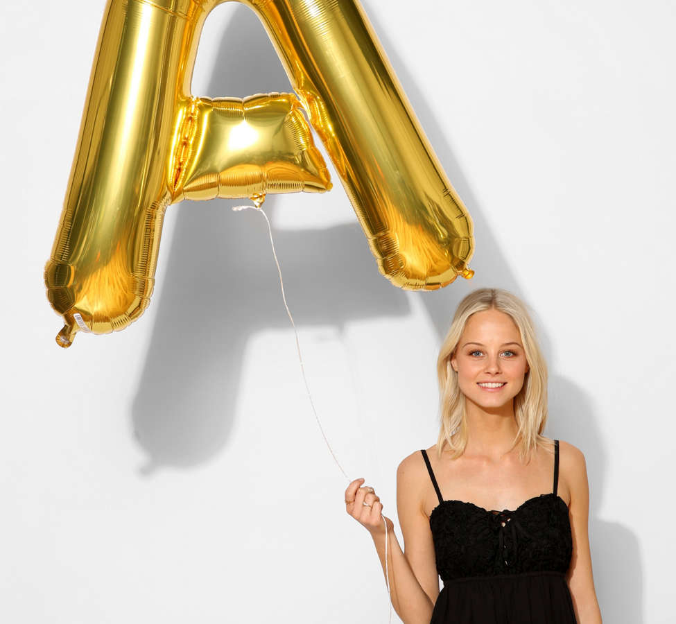 Slide View: 2: Gold Letter Party Balloon