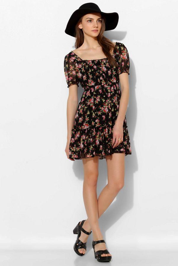 7534fbd0d6c Pins And Needles Floral Chiffon Puff-Sleeve Dress