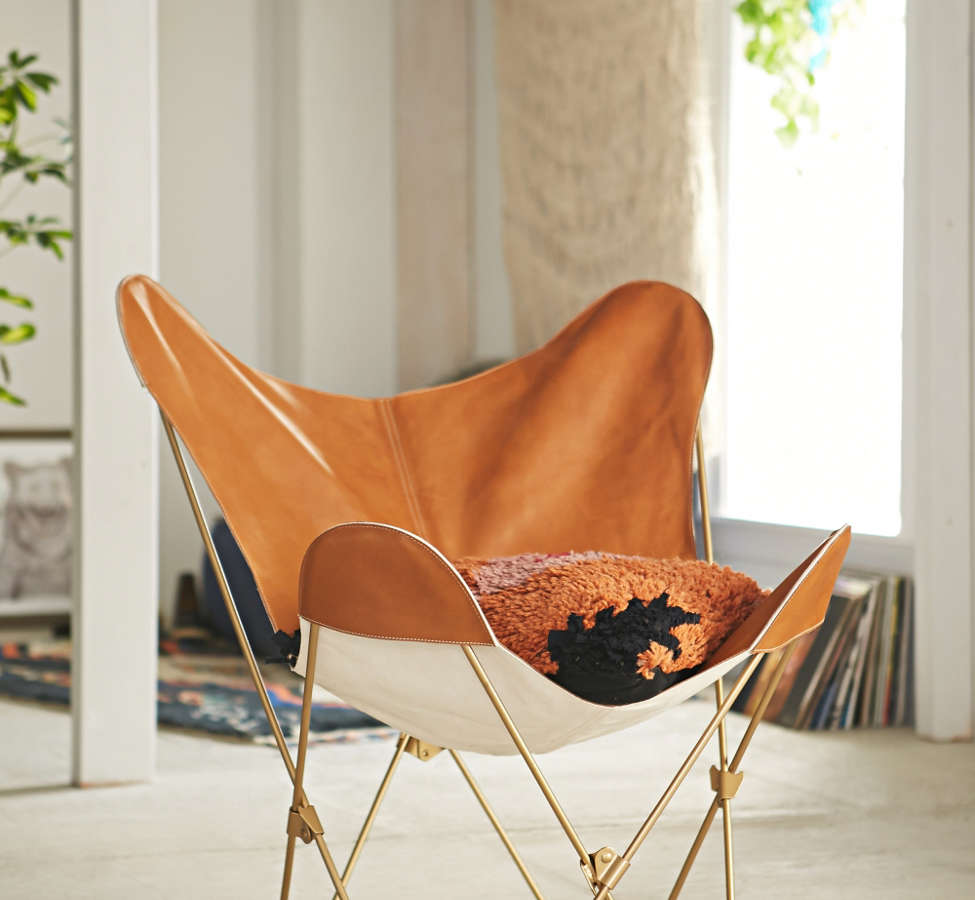 Slide View: 1: Leather Butterfly Chair Cover