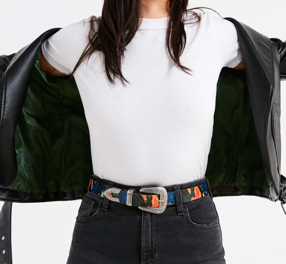 Slide View: 1: Ecote Metal-Tipped Leather Belt