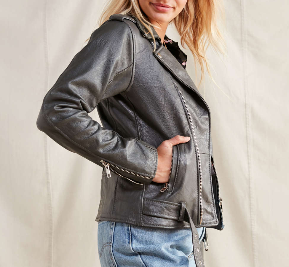 Slide View: 5: PeleCheCoco Leather Moto Jacket