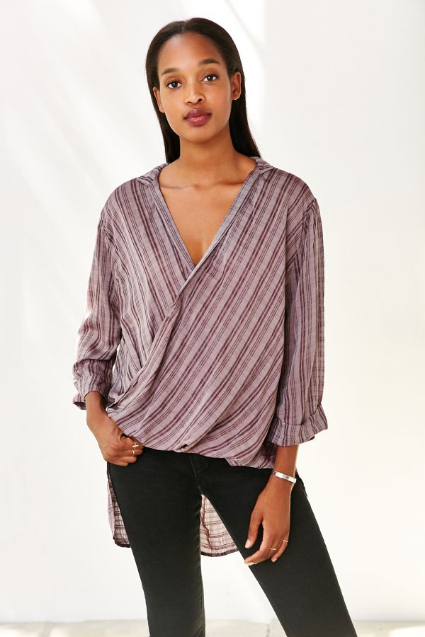 796af5f8b24 Silence + Noise Windowpane Surplice Tunic Top