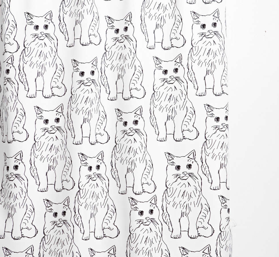 Slide View: 1: Allyson Johnson For Deny Cat Obsession Shower Curtain