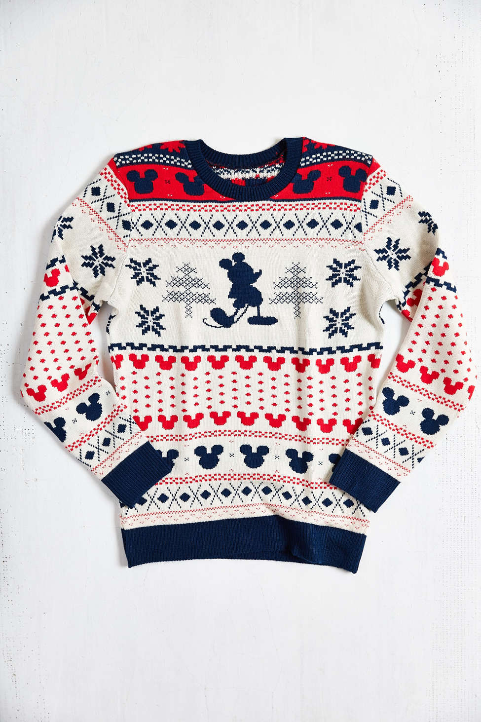 Mickey Mouse Fair Isle Crew Neck Sweater Urban Outfitters