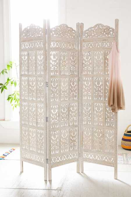 Amber Carved Wood Room Divider Screen