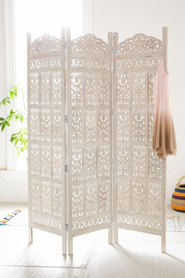 Slide View 1 Amber Carved Wood Room Divider Screen