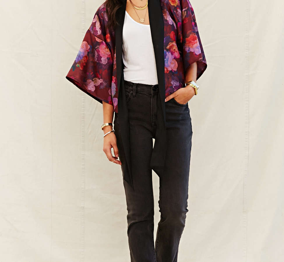 Slide View: 5: One & Only X Urban Renewal Tie-Front Kimono Top