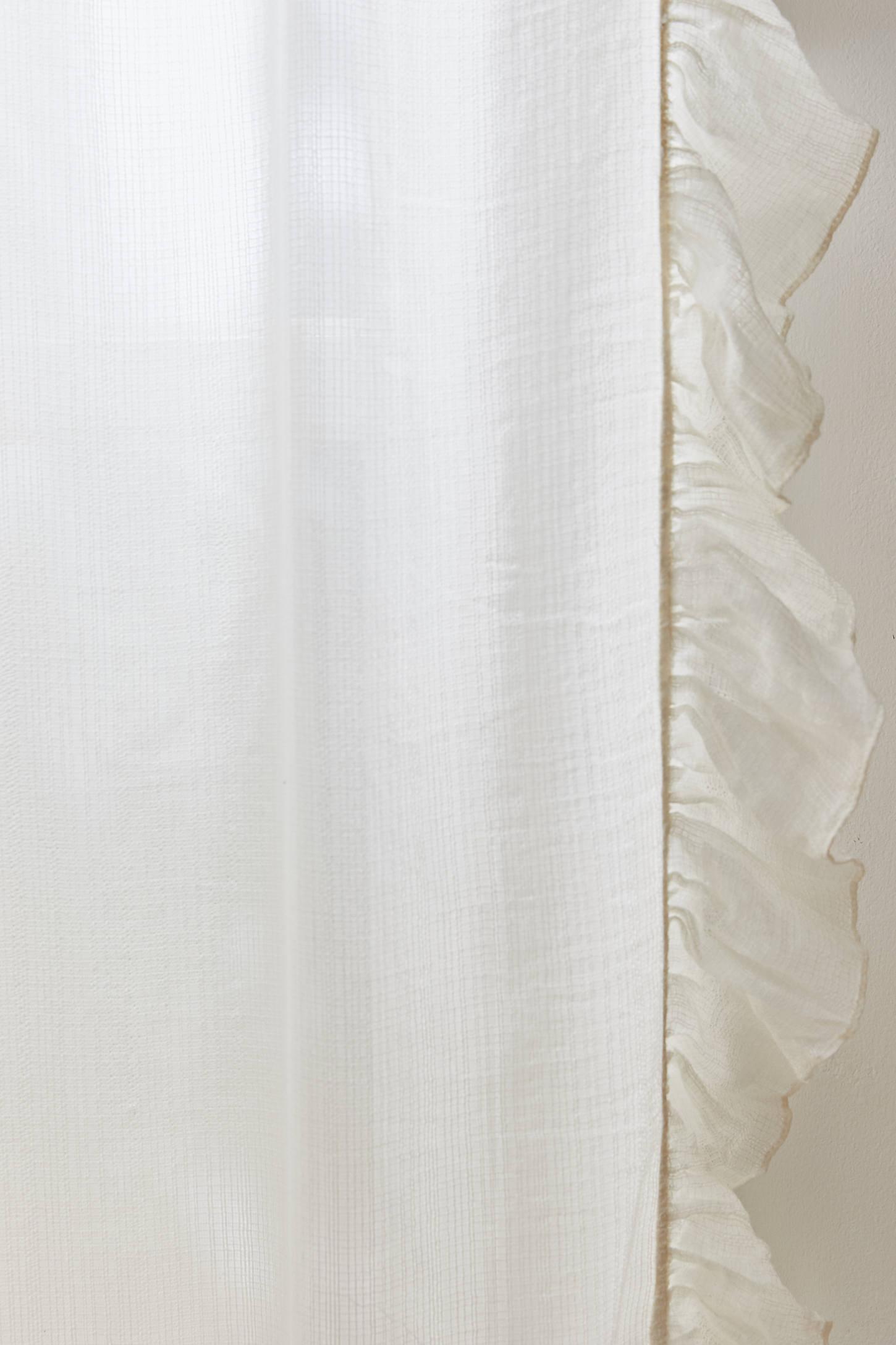White ruffle curtain - Slide View 3 Ruffle Gauze Curtain