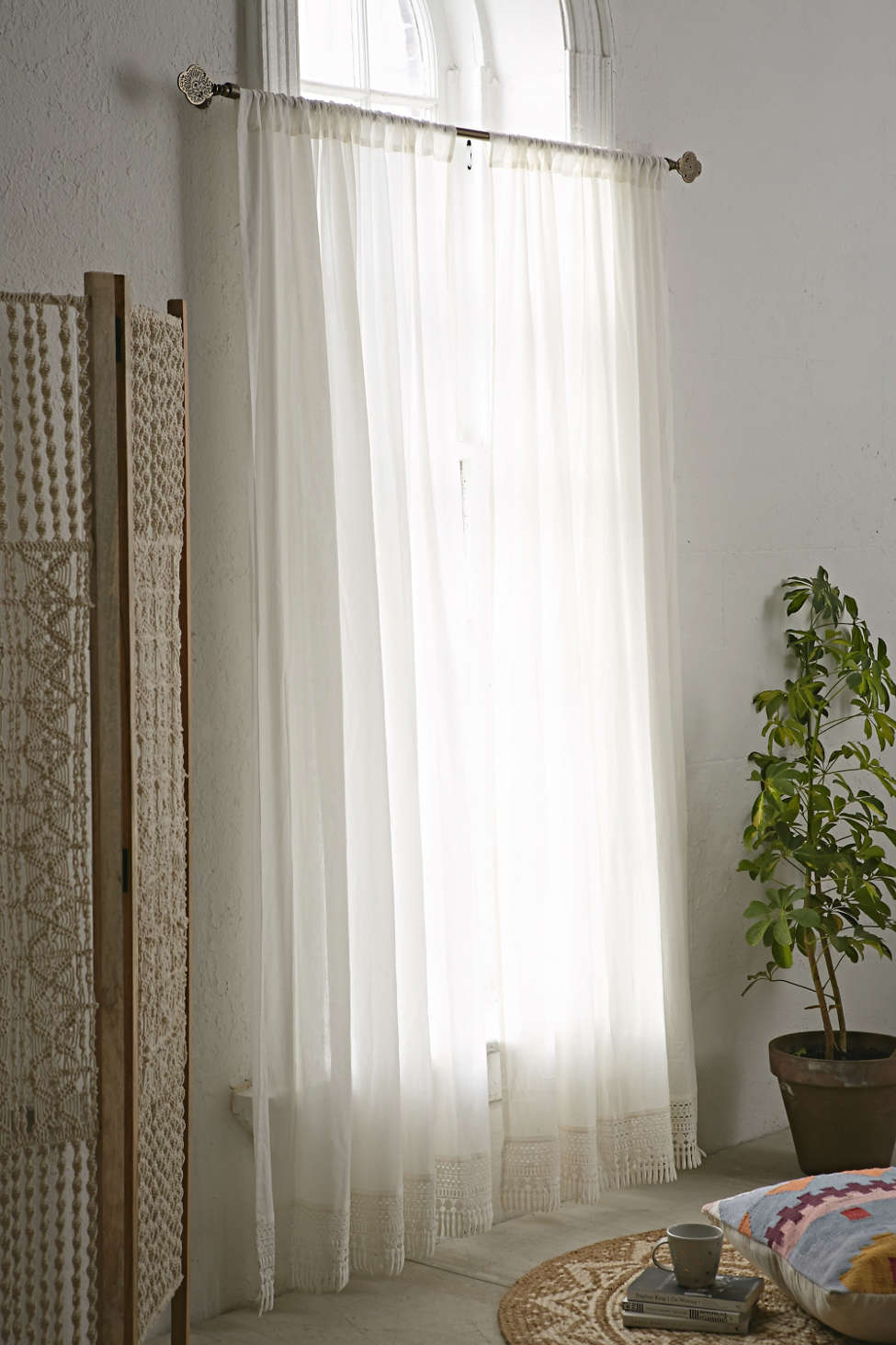 Slide View: 1: Crochet Trim Curtain