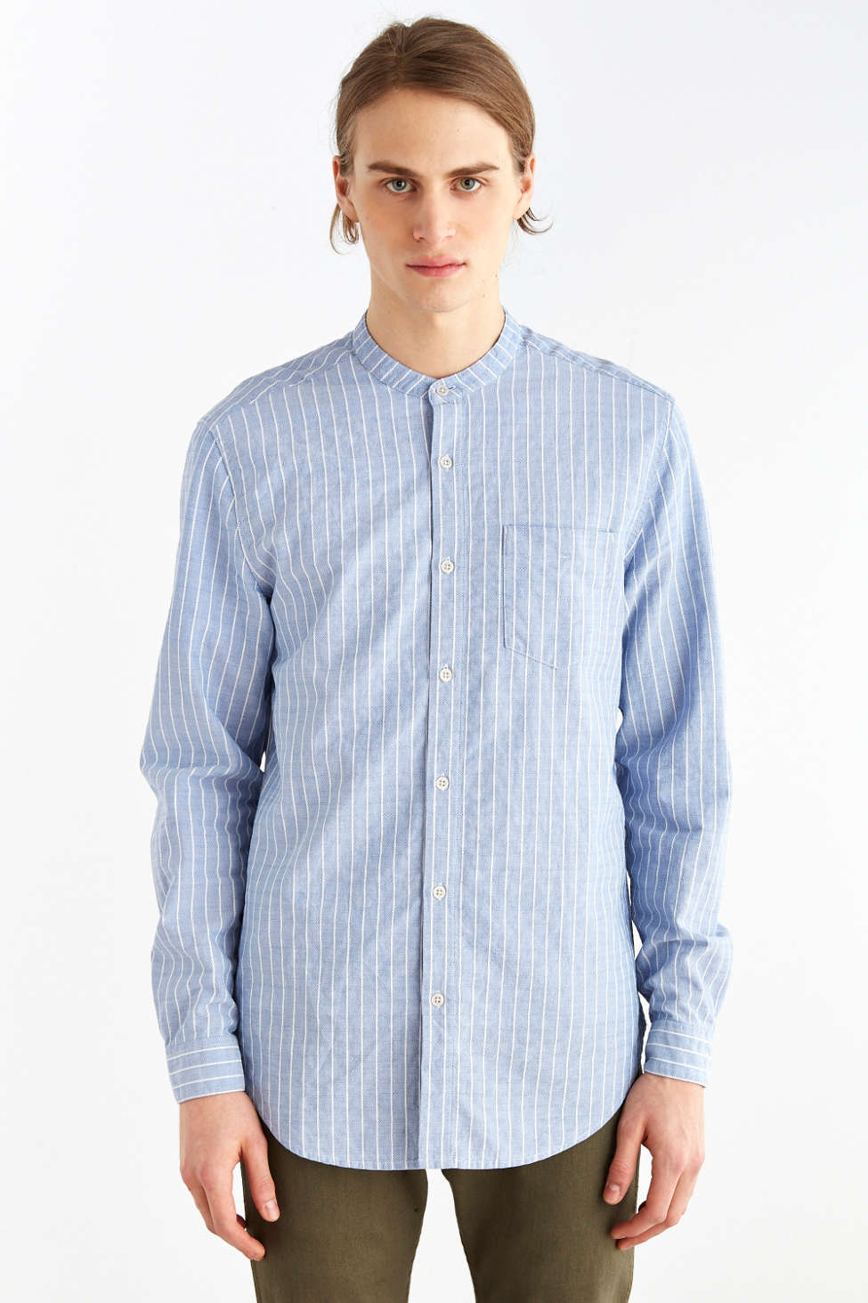 Striped Mandarin Collar Regular Fit Shirt