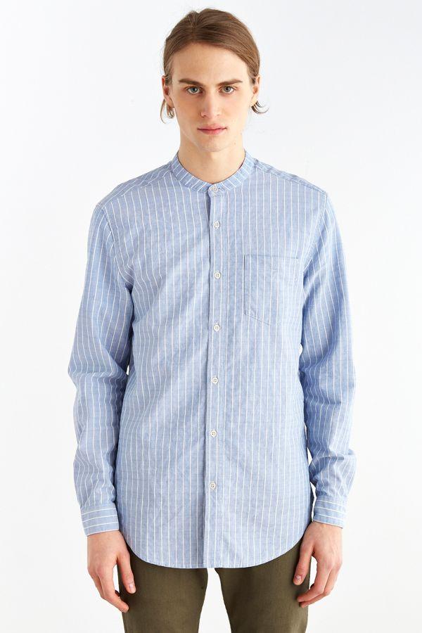 Striped Mandarin Collar Regular Fit Shirt Buy Cheap Online Prices Cheap Online Clearance Sneakernews Discount Sale Free Shipping Huge Surprise fBka2cj