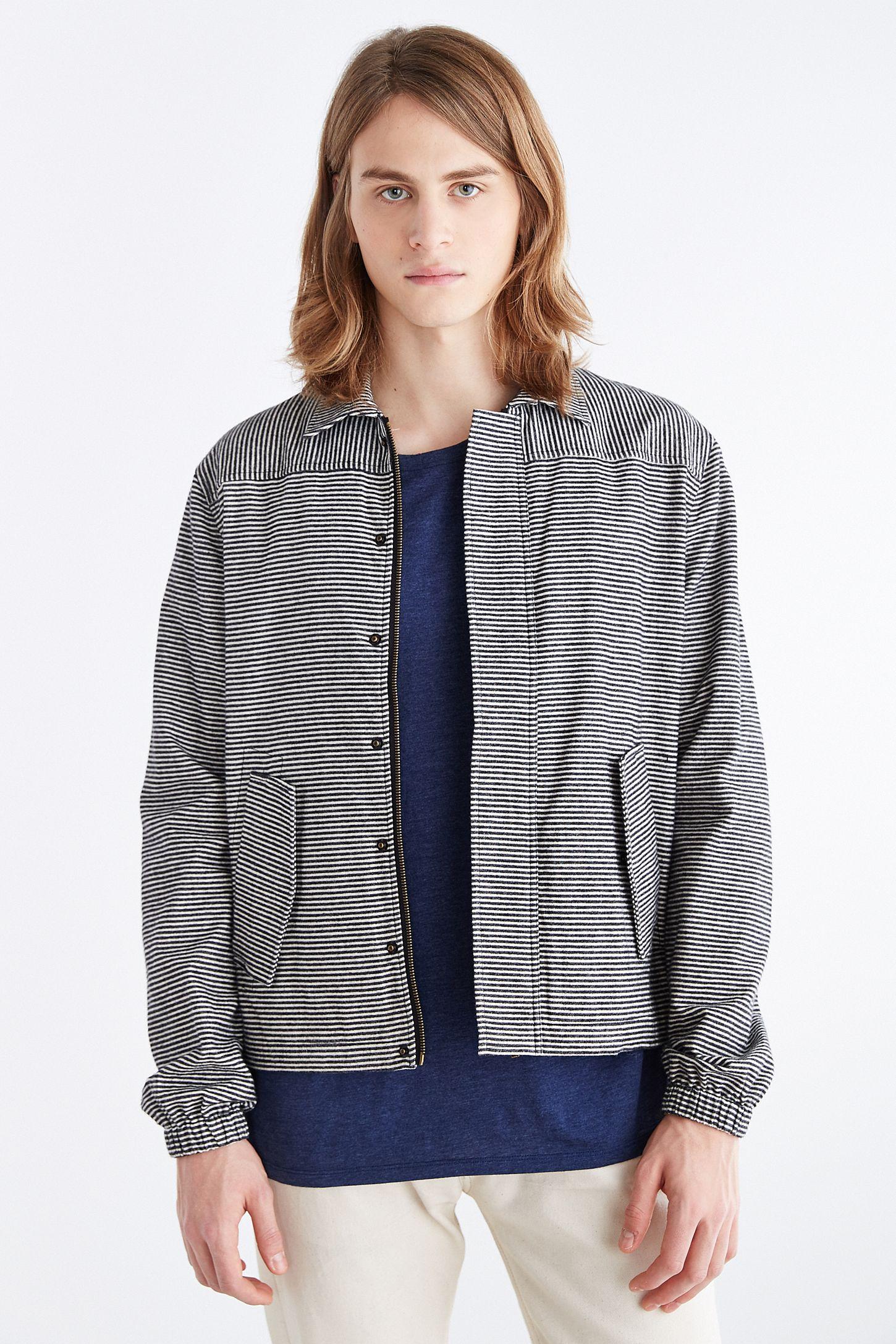 Vanishing Elephant Striped Shirt Jacket  8e439b4fa