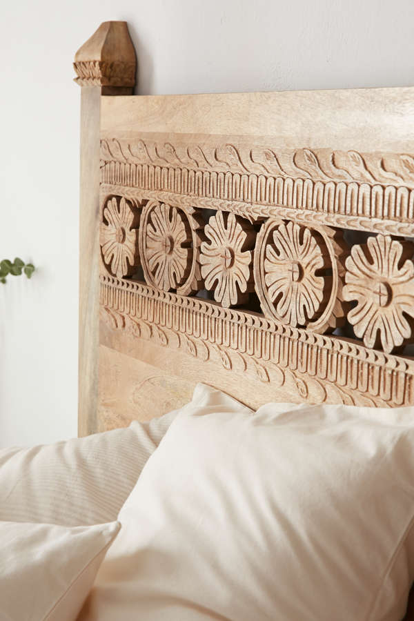 Slide View: 4: Pranati Carved Headboard
