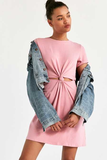Honey Punch Knot-Front Cutout T-Shirt Dress
