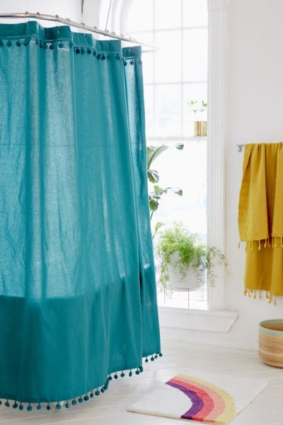 Magical Thinking Pompom Shower Curtain - Green One Size at Urban Outfitters