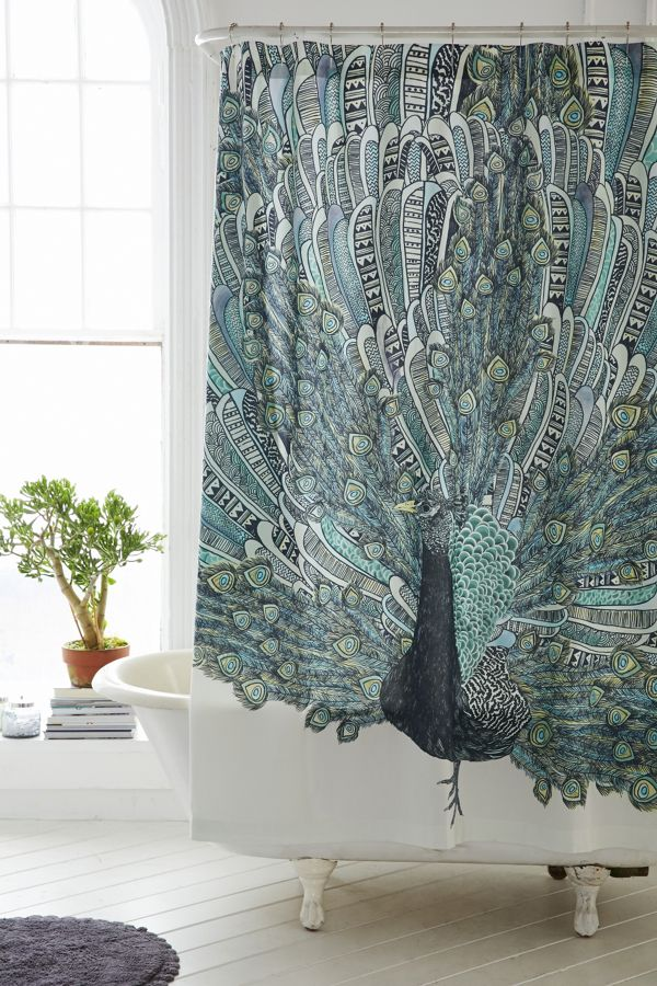 Slide View 1 Magical Thinking Pavo Peacock Shower Curtain