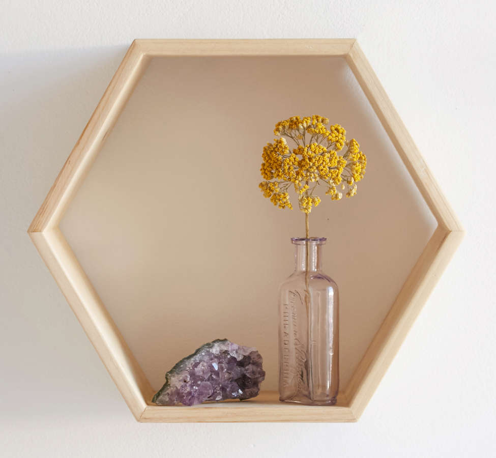 Slide View: 1: Honeycomb Wood Shelf