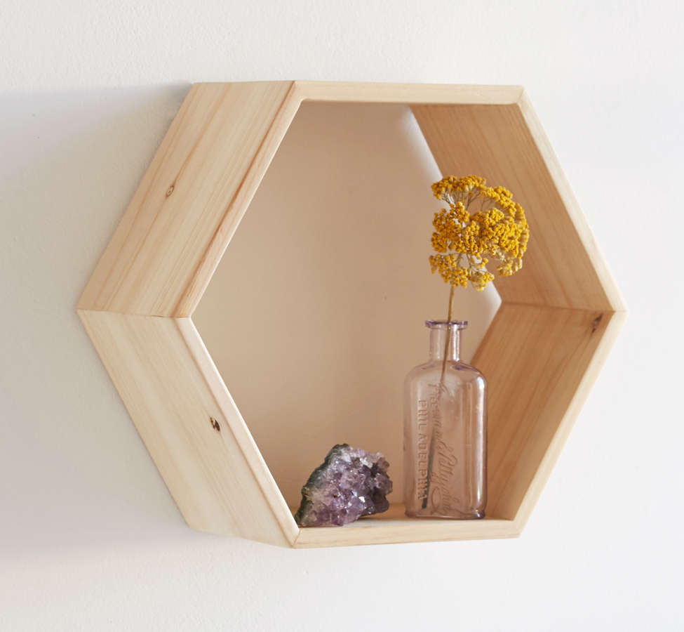 Slide View: 2: Honeycomb Wood Shelf