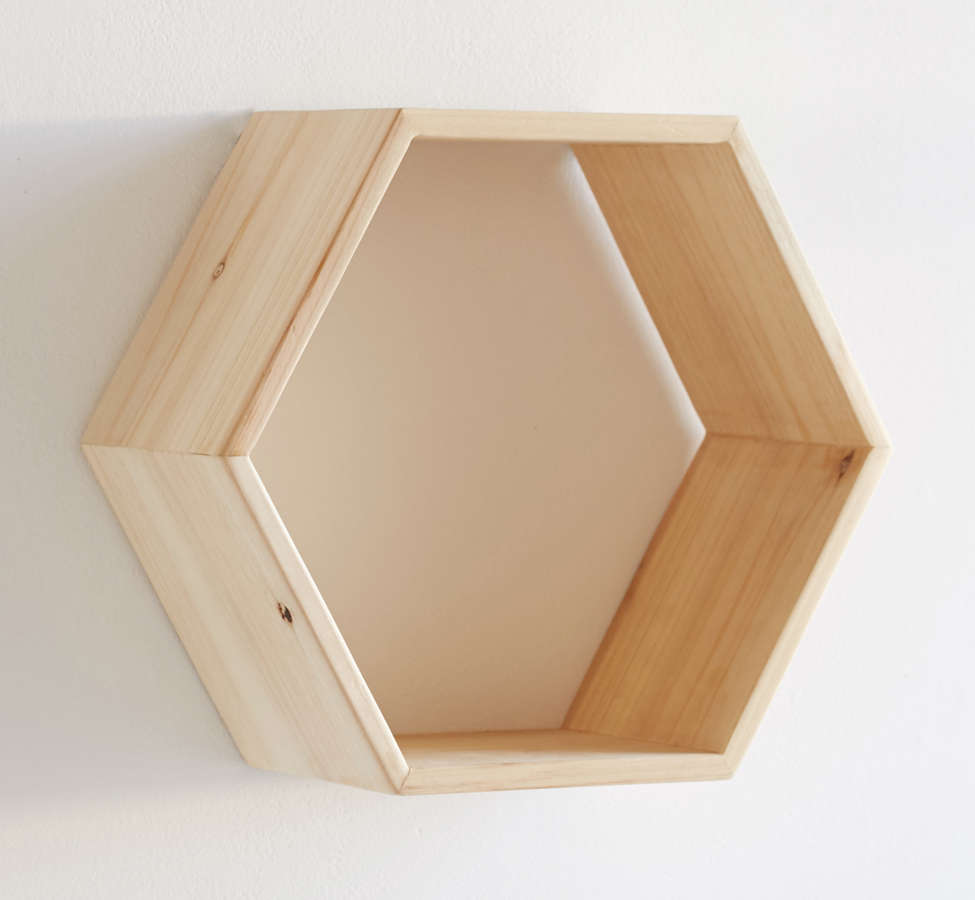 Slide View: 3: Honeycomb Wood Shelf