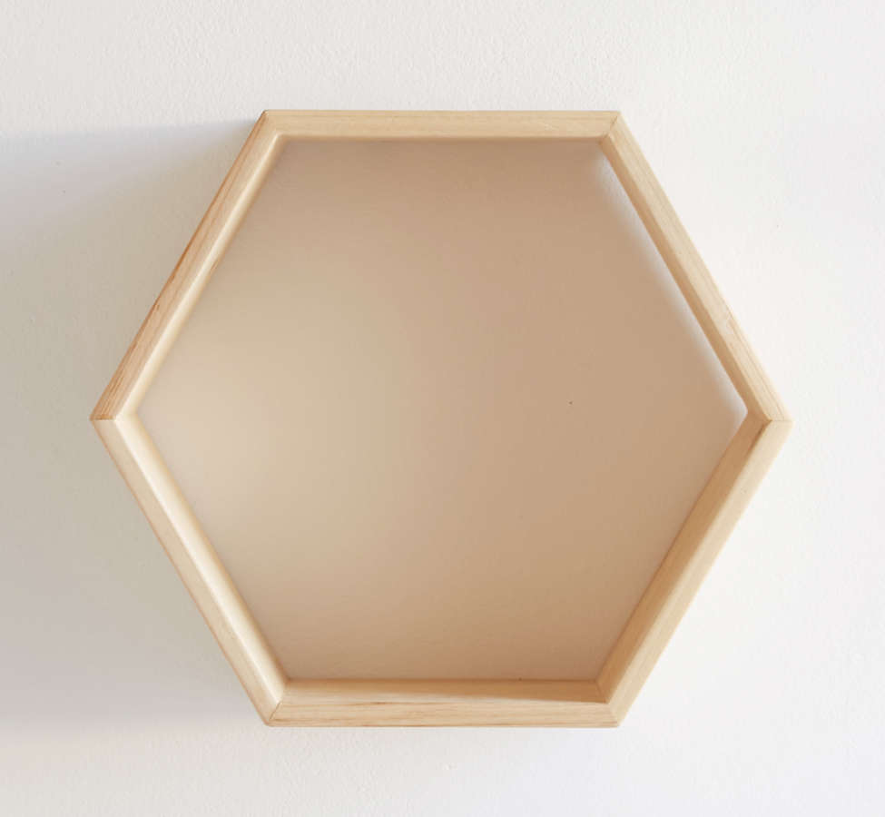 Slide View: 4: Honeycomb Wood Shelf