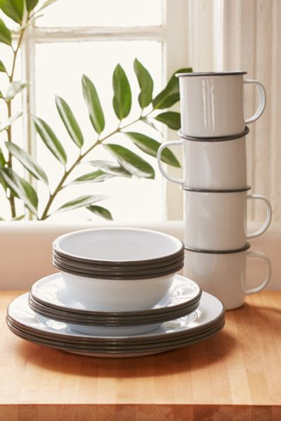 16-Piece Edged Enamelware Starter Kit - Grey One Size at Urban Outfitters