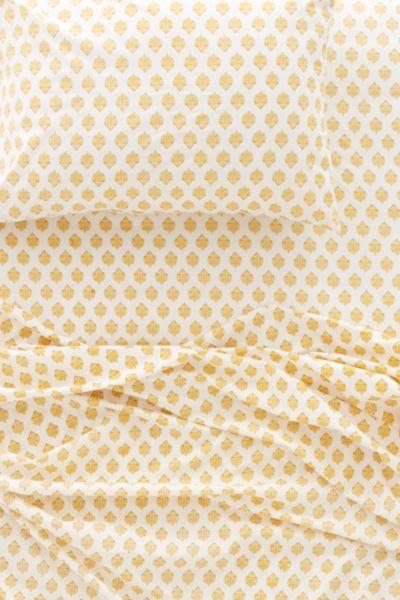 Plum & Bow Woodblock Blossom Flat Sheet