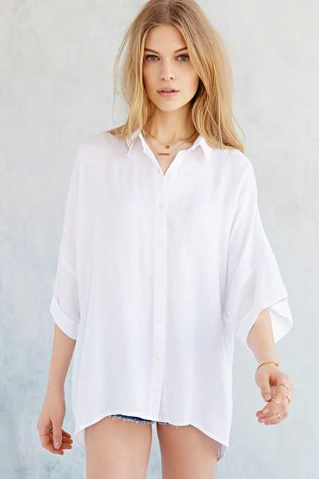 BDG Oversized Drop-Shoulder Button-Down Shirt