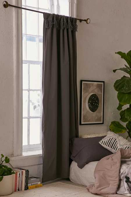 Tassel Blackout Curtain - Grey