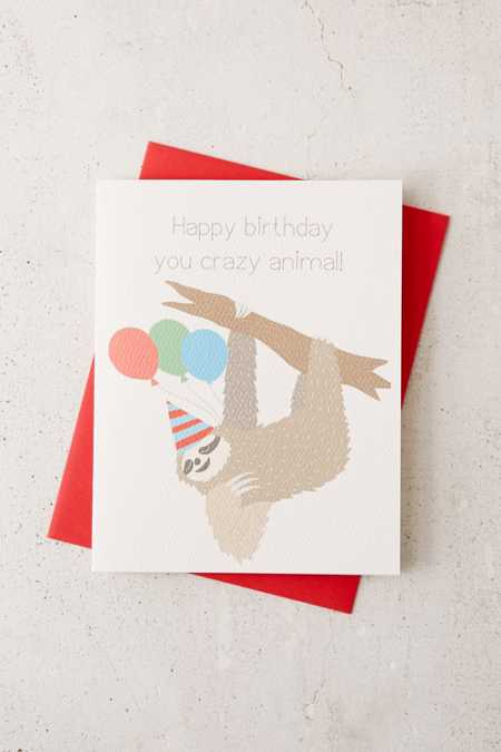 Turtle's Soup Sloth Happy Birthday Card
