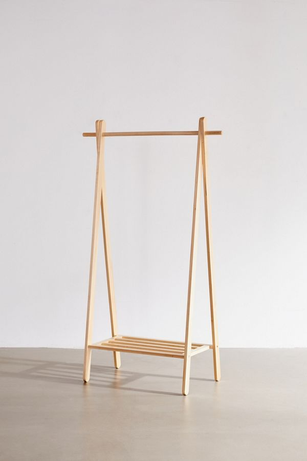Slide View: 2: Wooden Clothing Rack