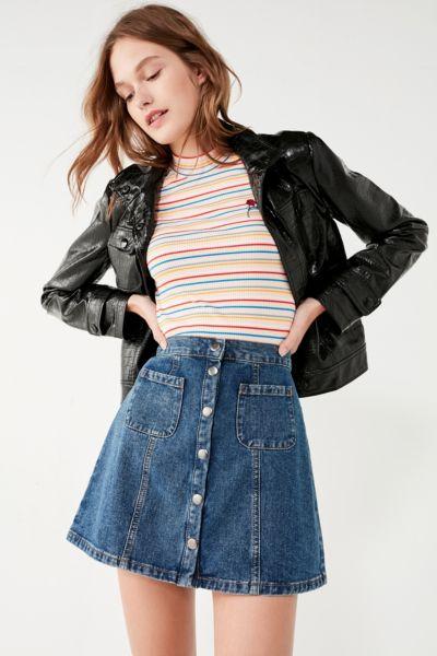Bdg Denim Button Front Skirt Urban Outfitters
