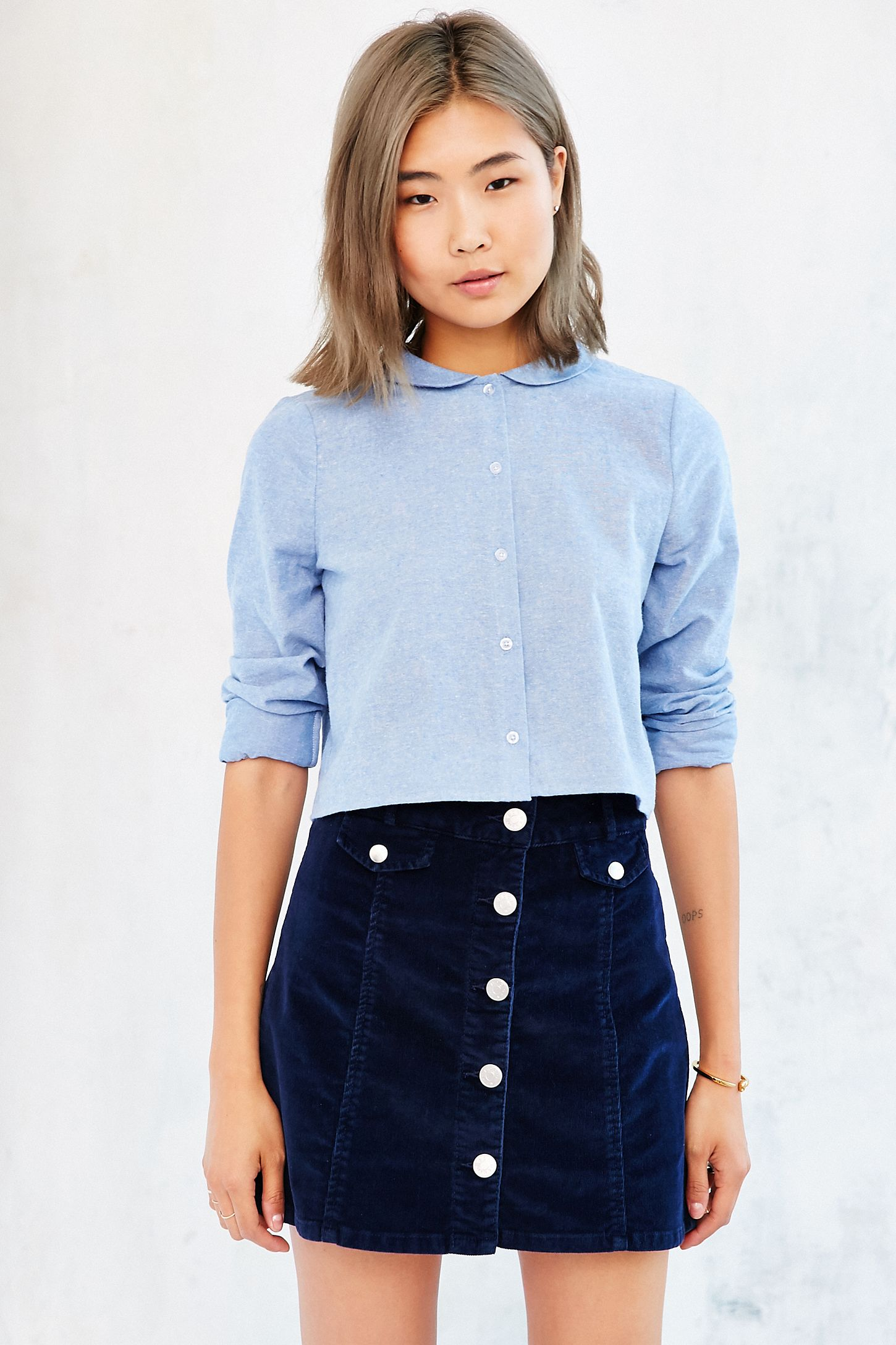 Cooperative Peter Pan Collar Button Down Shirt Urban Outfitters