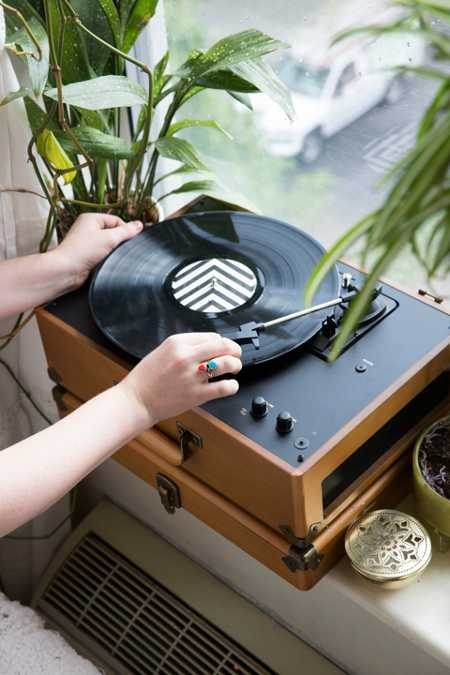 Slide View: 5: Crosley X UO Keepsake Wood Portable USB Vinyl Record Player