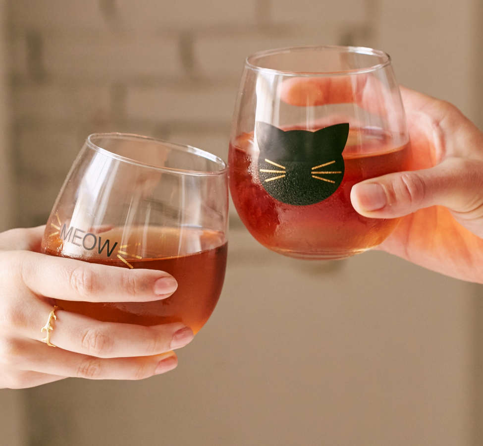 Slide View: 2: Meow Stemless Wine Glass - Set Of 2