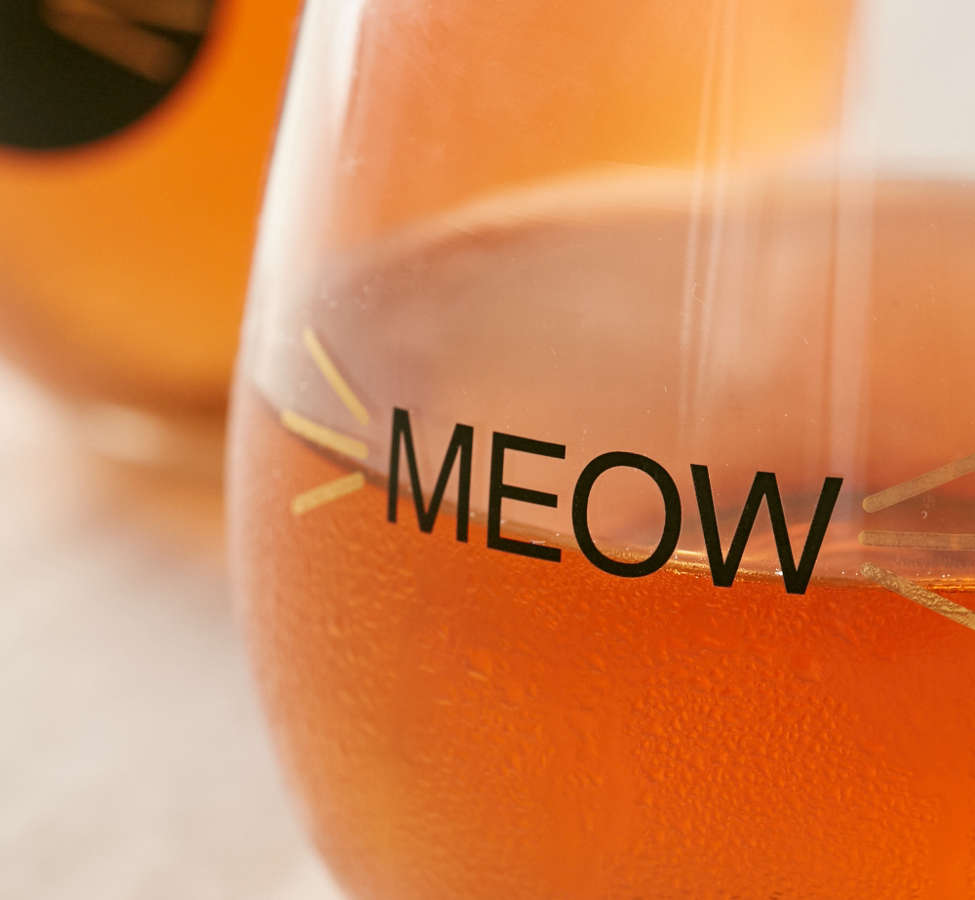 Slide View: 3: Meow Stemless Wine Glass - Set Of 2