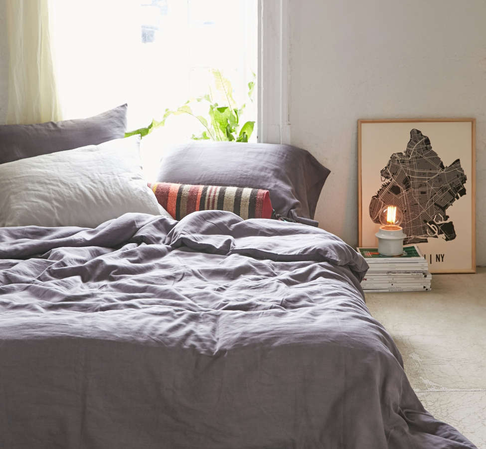Slide View: 1: Assembly Home Linen Blend Duvet Cover - Charcoal