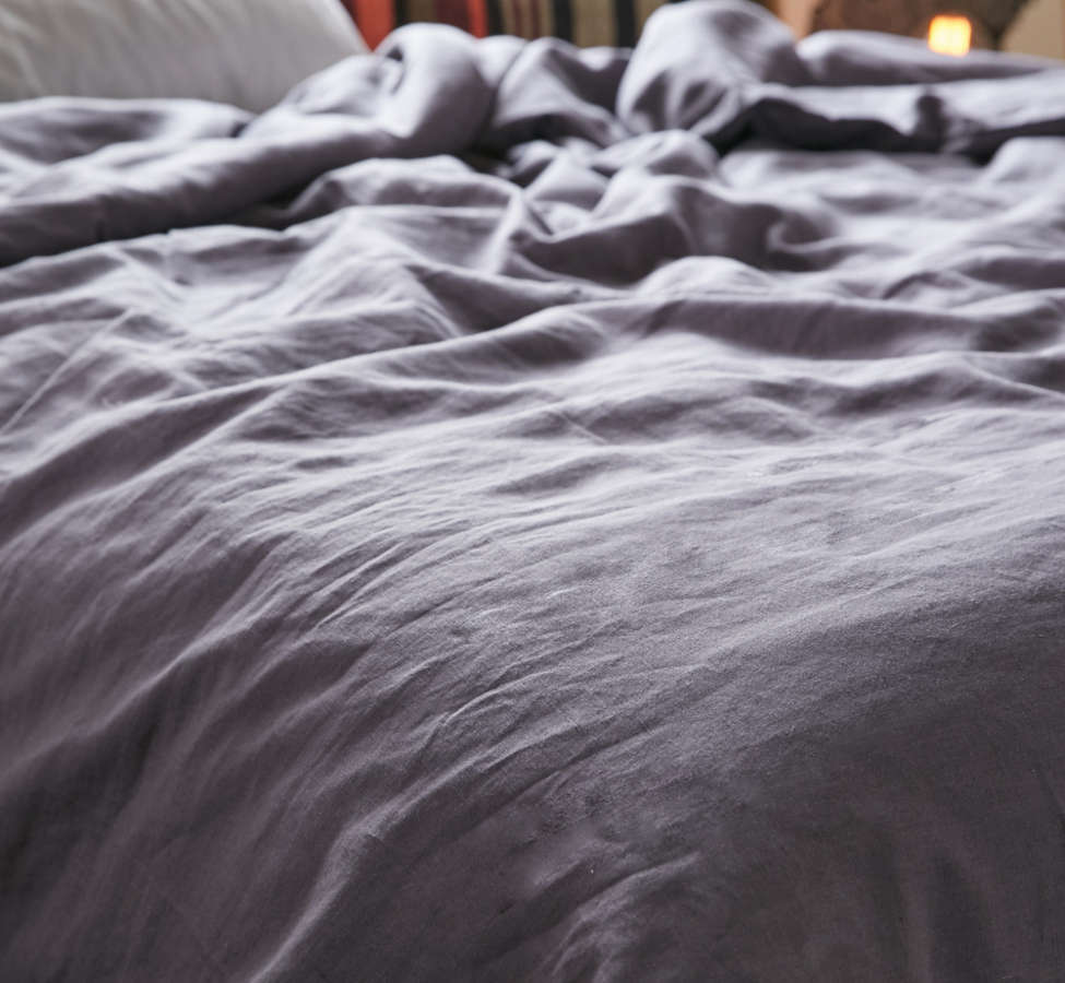 Slide View: 3: Assembly Home Linen Blend Duvet Cover - Charcoal