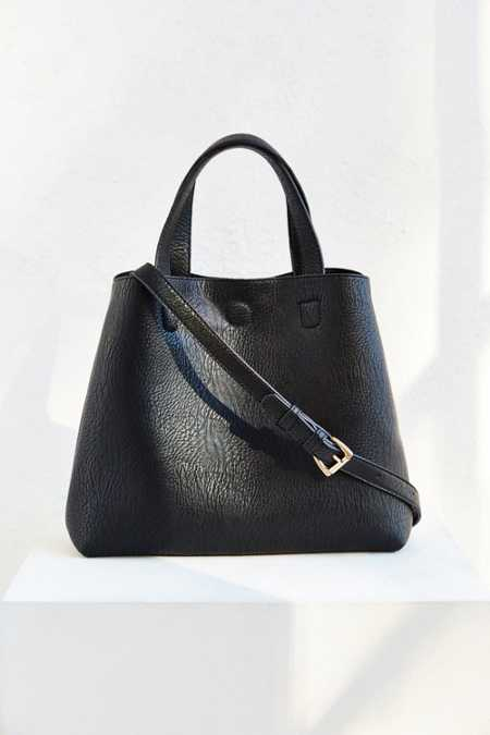 Mini Reversible Faux Leather Tote Bag