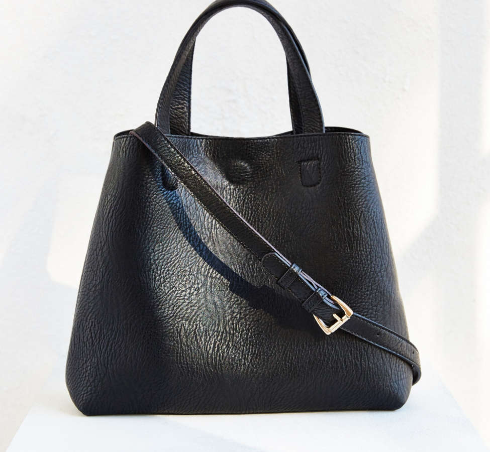 Slide View: 1: Mini Reversible Faux Leather Tote Bag