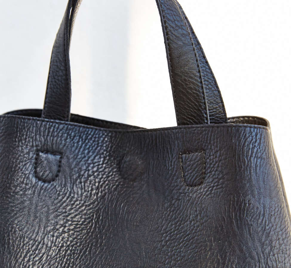 Slide View: 3: Mini Reversible Faux Leather Tote Bag