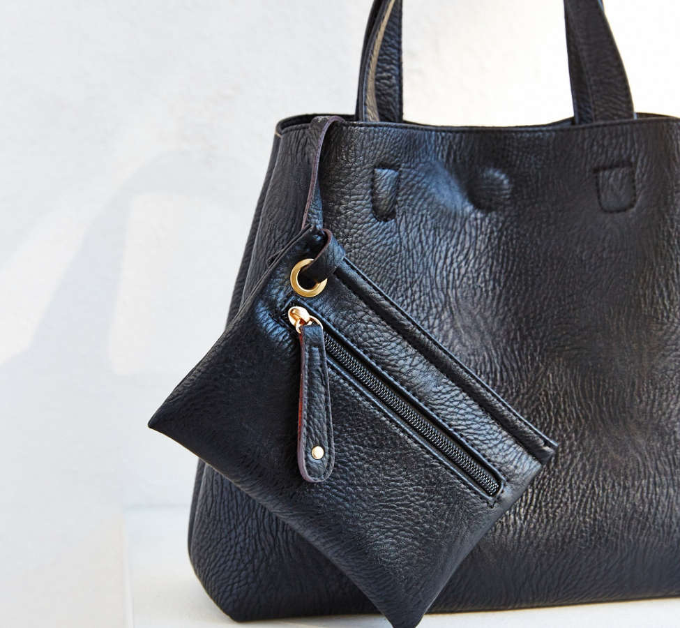 Slide View: 5: Mini Reversible Faux Leather Tote Bag