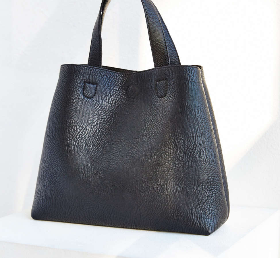 Slide View: 6: Mini Reversible Faux Leather Tote Bag