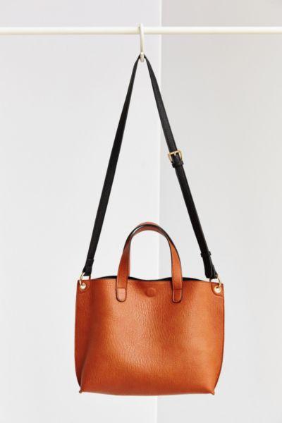 Mini Reversible Vegan Leather Tote Bag