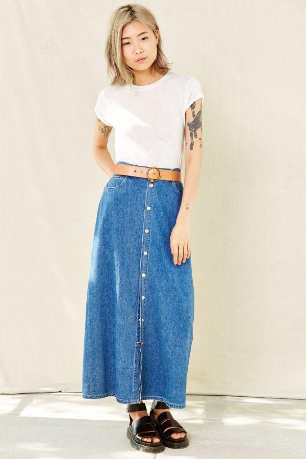 8296cecf94 Vintage Calvin Klein Denim Maxi Skirt